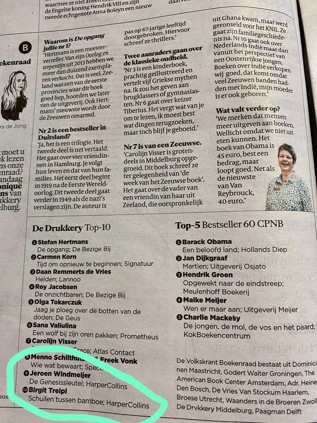 Schuilen tussen bamboe in De Volkskrant Top 10 best sellers
